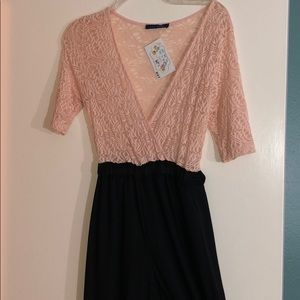 Other - Light blush pink and black romper